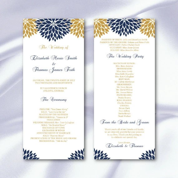 Floral Wedding Program Template Diy Navy Blue Gold Ceremony