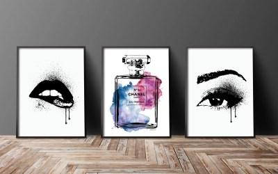 Set of 3 fashion posters blue, purple, makeup,