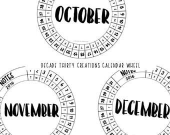 Decade Thirty Calendar Wheel BLANK Size 4.5cm by DecadeThirty