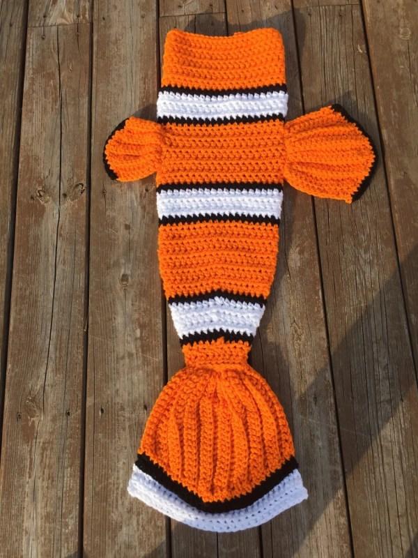 Nemo Inspired Fish Mermaid Tail Blanket