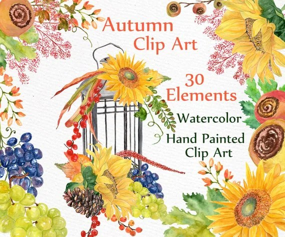autumn watercolor clipart fall