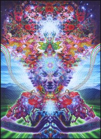Trippy wall art 'Namaste'. Psychedelic tapestry wall