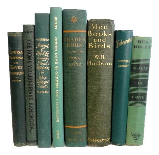 Green Decorative Books, Antique Books, Vintage Book Collection, Wedding Centerpiece, Book Decor, Interior Design,Forest, Myrtle