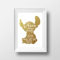 Wall Art Disney Print Stitch GoldLilo and StitchDisney