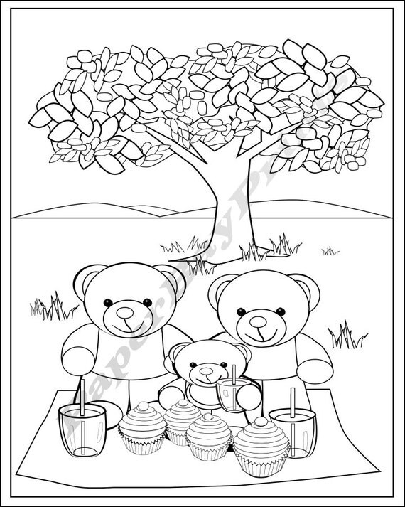 Fun Teddy Bear Picnic Colouring Page for Kids. by