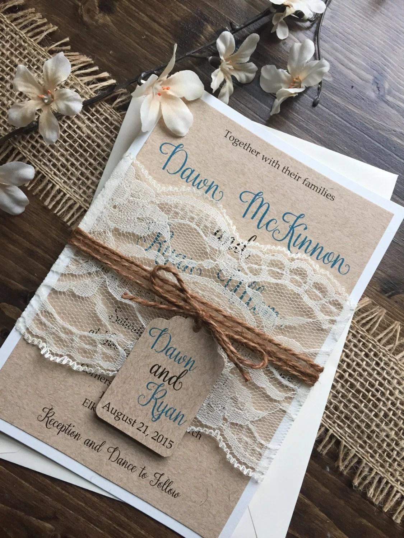 Rustic Wedding Invitation Vintage Wedding Invitation Elegant