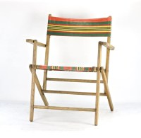 Vintage Striped Folding Deck Chair Vintage Wood Beach Chair