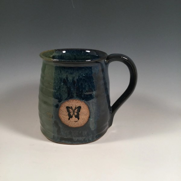 Pottery Mug Ceramic Coffee Cup 16 oz Monet Blue Green