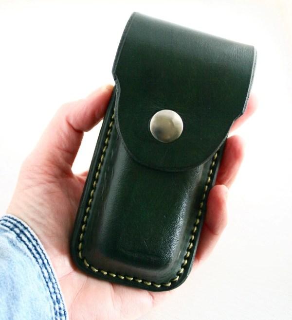 Leather Pocket Knife Holder. Green Holder