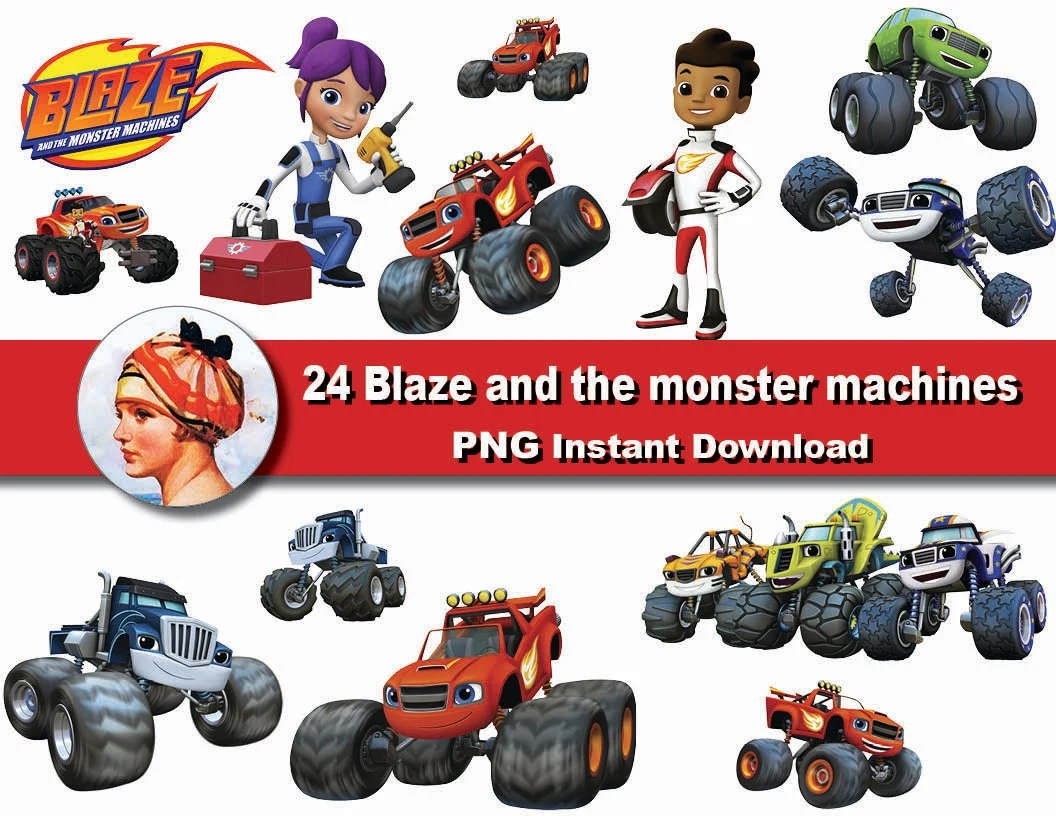24x Blaze And The Monster Machines Clipart Printable