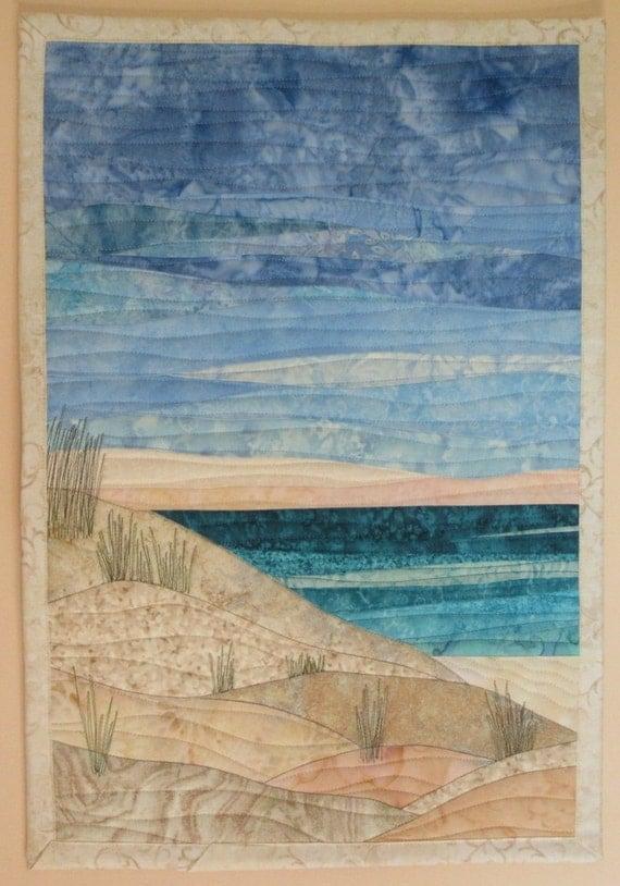 art quilt ocean with dunes 3 beach
