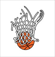 basketball in net 3 color design