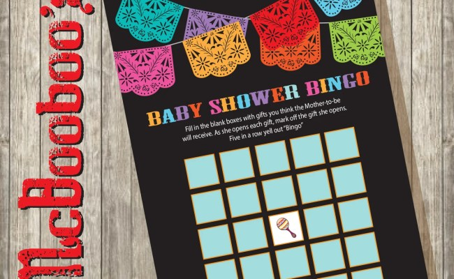Baby Shower Bingo Mexican Fiesta Shower Game Cards Instant