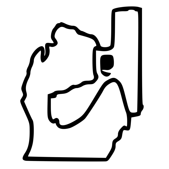 Authentic Michigan Holding Gun Outline Michigan Pistol
