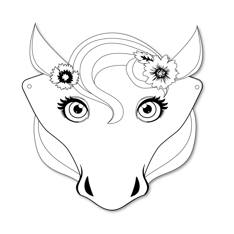 4 Horse Masks, DIY paper horse masks, party favor, plus