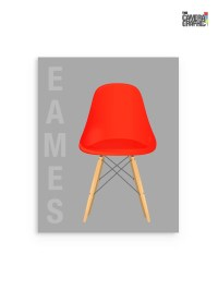 Red Mid Century Chair Print Red Eames Chair Poster Eames