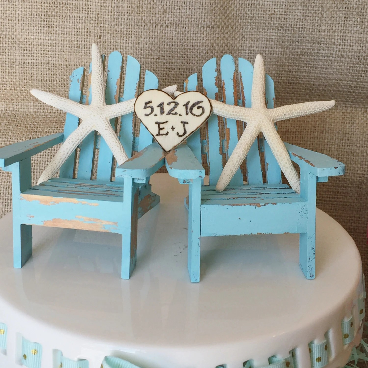 Teal Adirondack Chairs Teal Blue Beach Wedding Cake Topper With By
