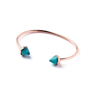 Rose Gold Spiked Turquoise Stack Bangle, Turquoise Cuff Bracelet, Rose Gold Bracelet, Spiked Cuff Bangle