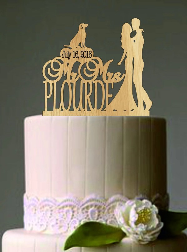 Rustic Wedding Cake Topper Personalized Funny