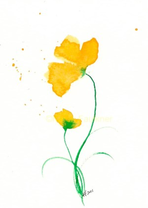 watercolor yellow flowers flower painting watercolour water duet simple paintings cards giclee watercolors floral easy fine prints drawings drawing daniel