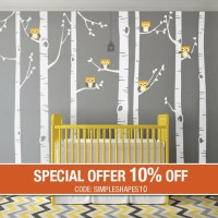 Birch Tree Wall Decal Birch Tree With Owls Wall by ...
