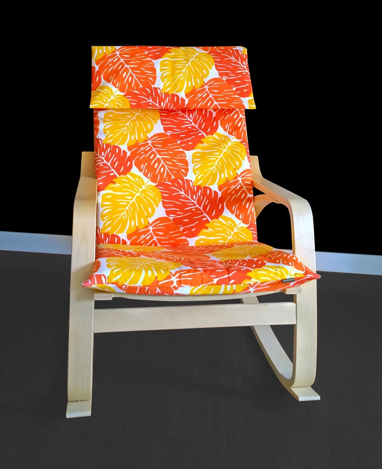 old ikea chair covers portable pedicure chairs orange leaves poang cover leaf seat