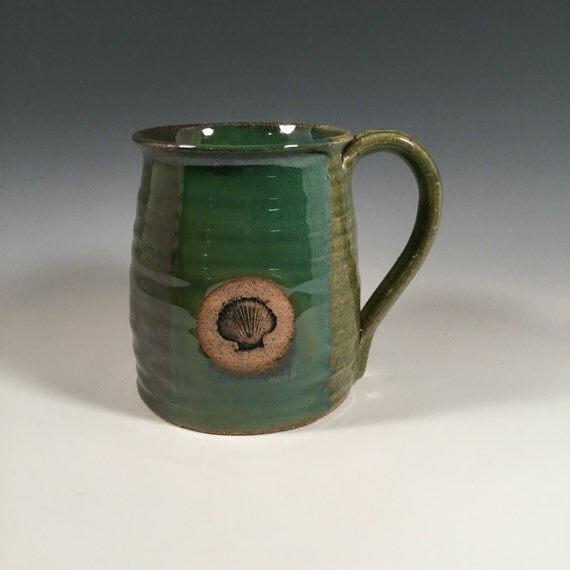 Pottery Mug Ceramic Coffee Cup 16 oz ocean by FattyFrogPots