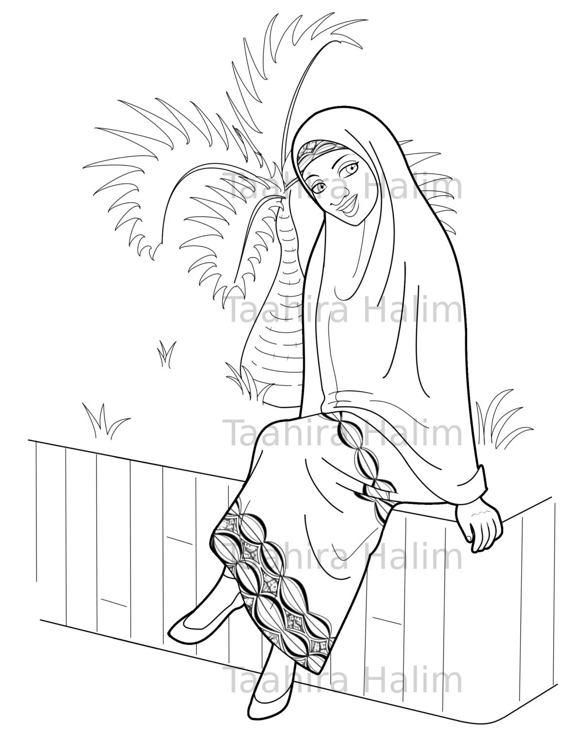 Muslim Hijabi Coloring Book Page Digital Download Muslimah