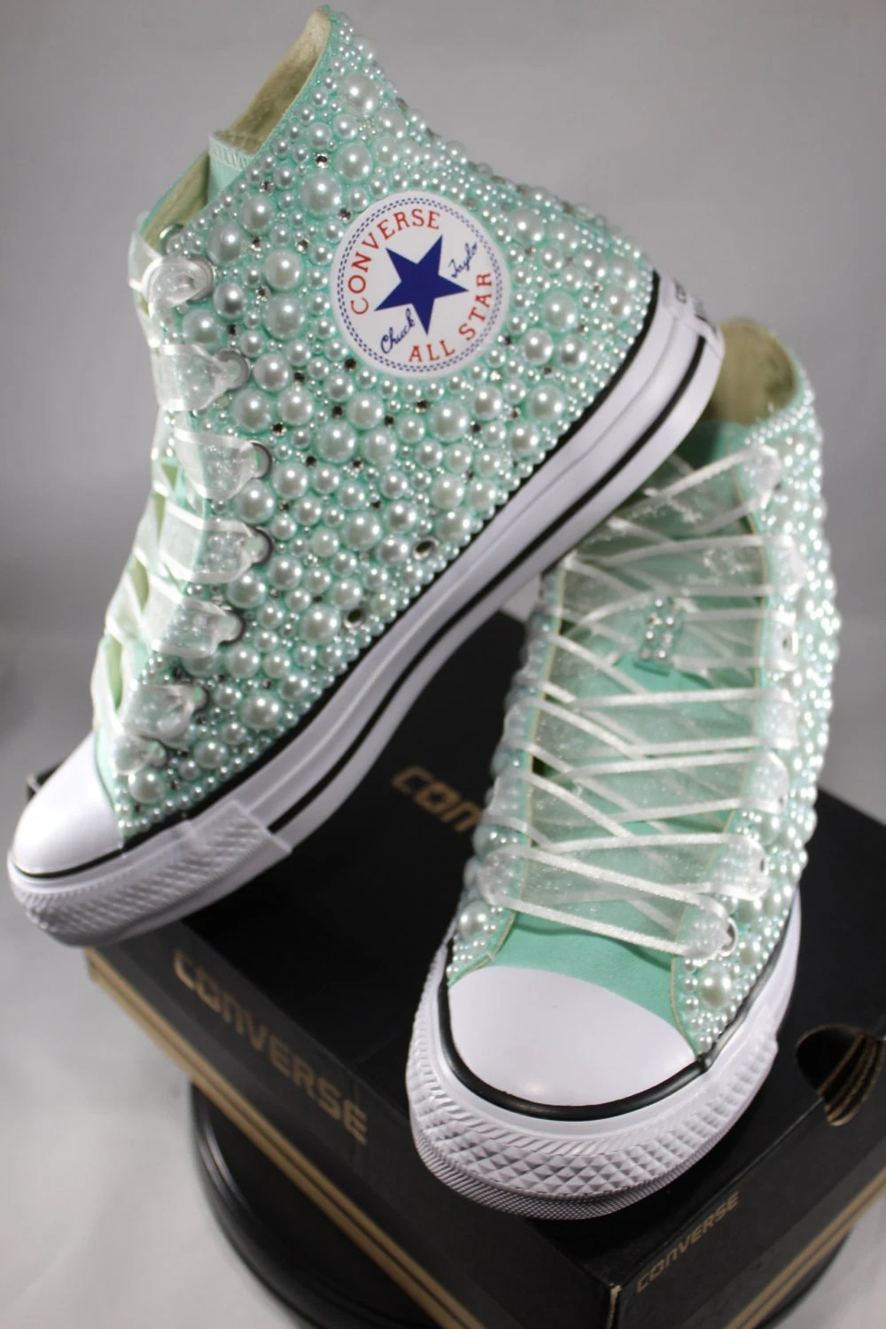 Bridal Converse Wedding Converse Bling  Pearls Custom