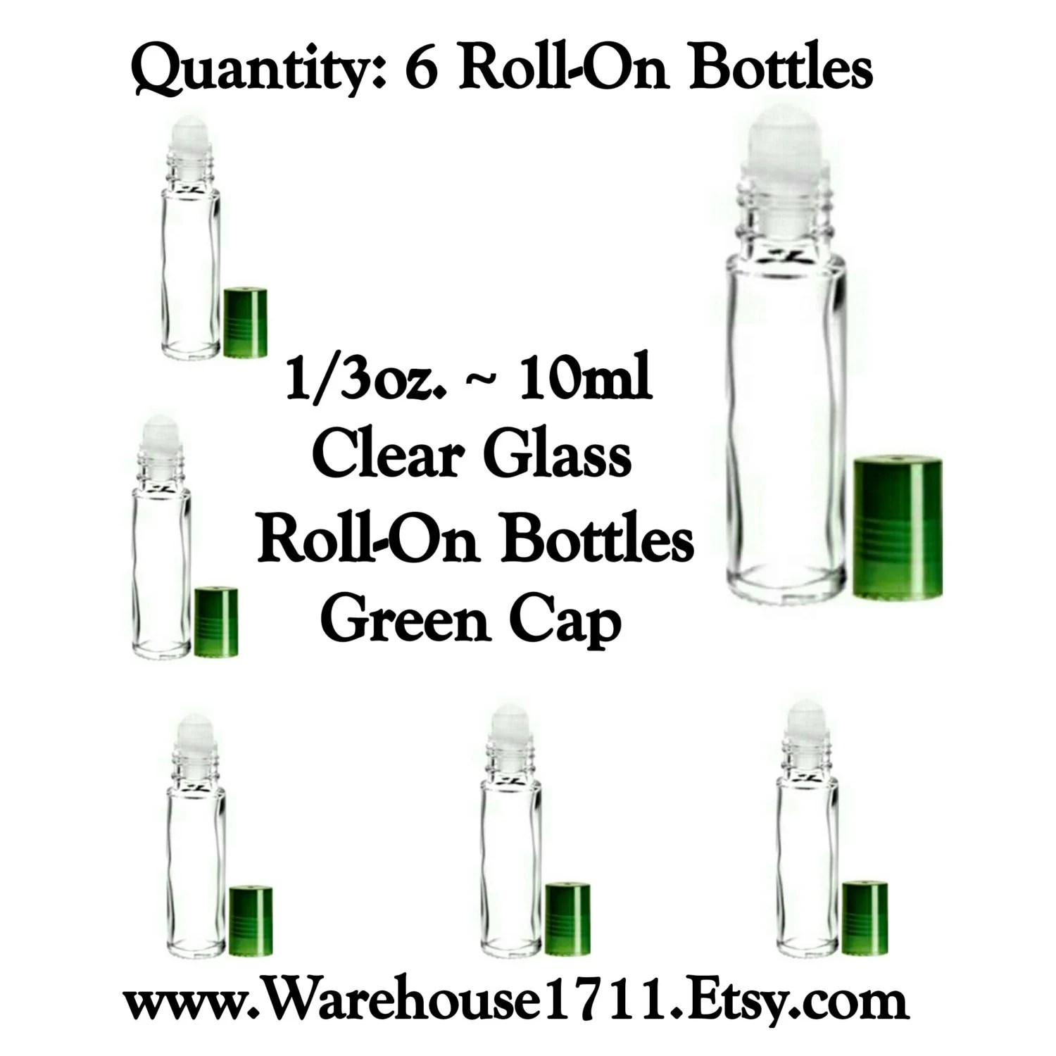 35% OFF SALE Clear Glass Roll-On Bottles Green Clear Caps