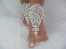 White Lace Barefoot Sandals Beach Wedding