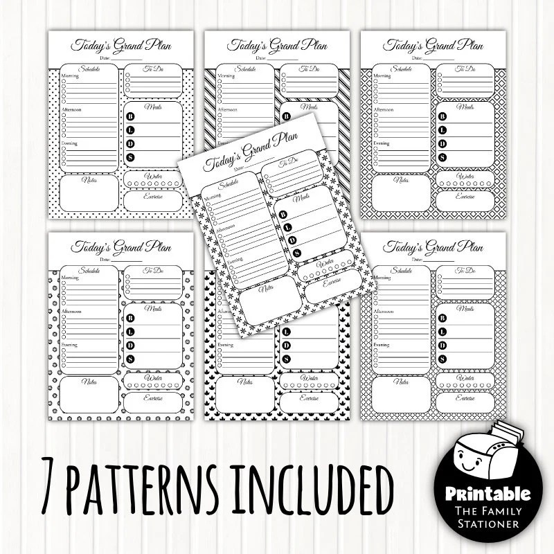 Printable Planner Pages Daily Planner Editable PDF & JPGs