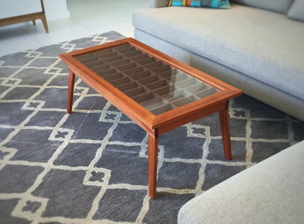 Handmade Mahogany Shadow Box Coffee Table Collectibles