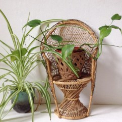 Chair Planter Stand Best Fabrics For Chairs Vintage Wicker Peacock Plant