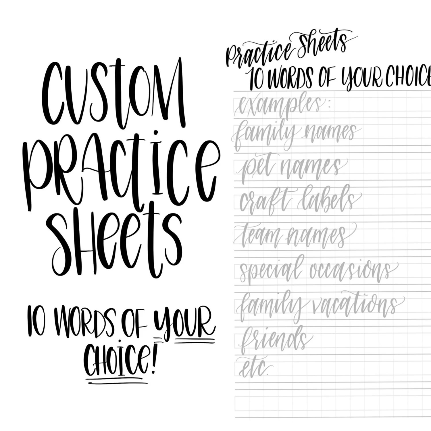 Basic Modern Calligraphy Practice Sheets by @theinkyhand