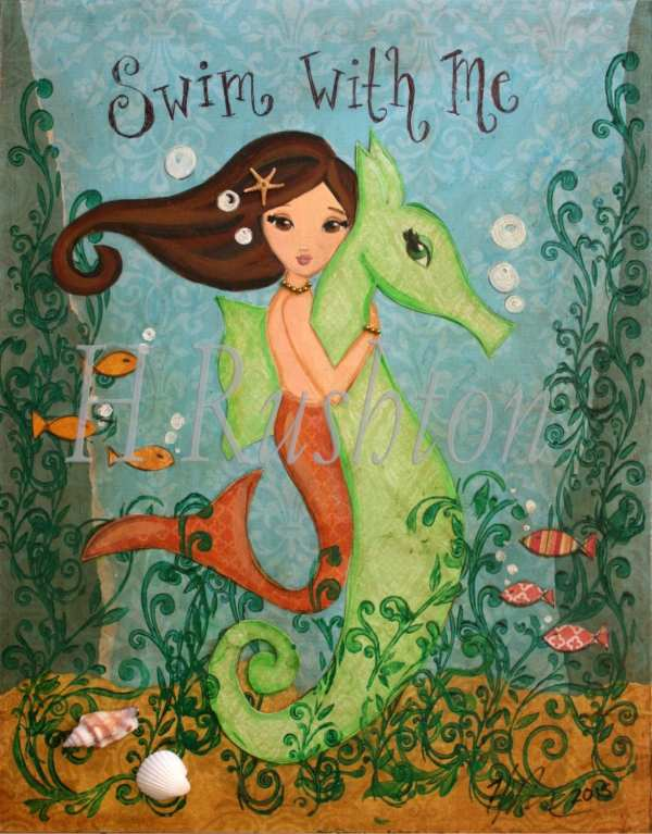 Mermaid Art Print Canvas Kids
