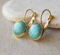 Turquoise Earrings Gold Turquoise dangle Earrings by ...
