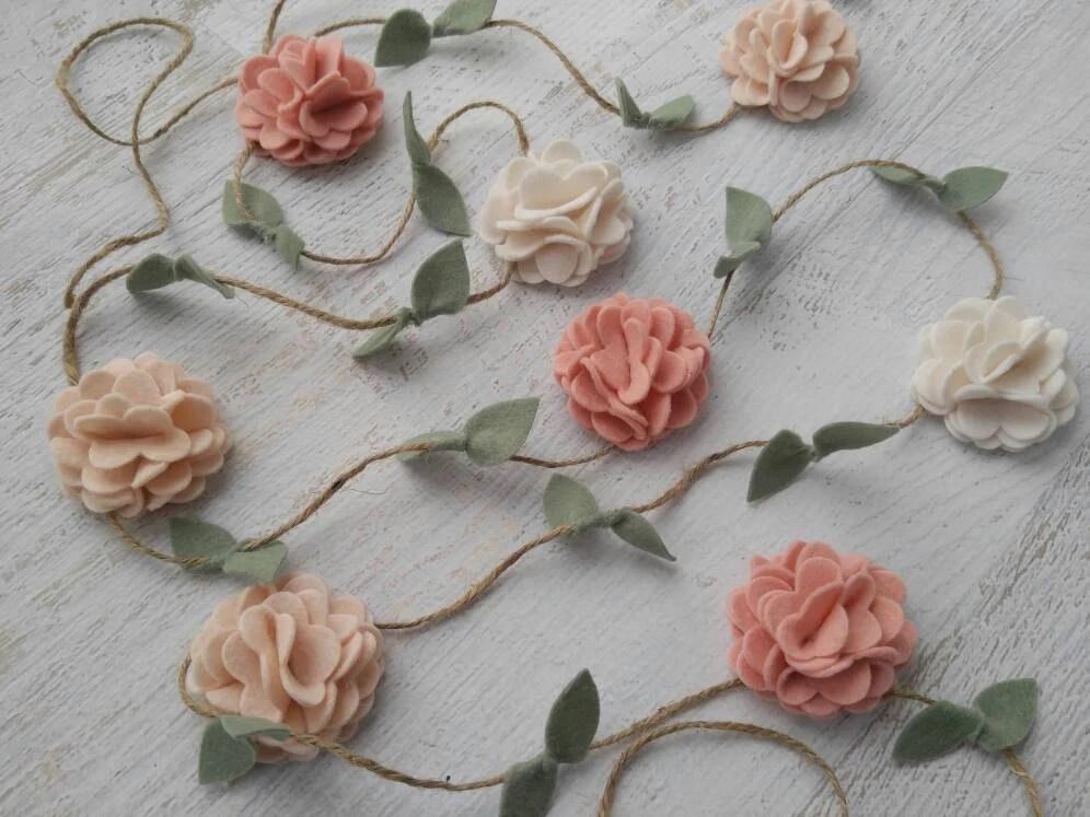 Wool Felt Flower Garland Wall Hanging Home Decor Nursery/