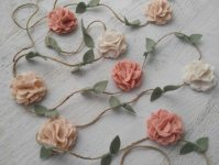 Wool Felt Flower Garland Wall Hanging Home Decor Nursery/