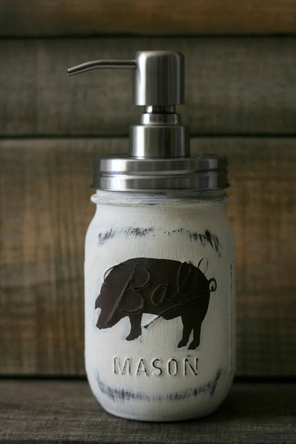 Rustic Pig Mason Jar Soap Dispenser Farmhouse Kitchen