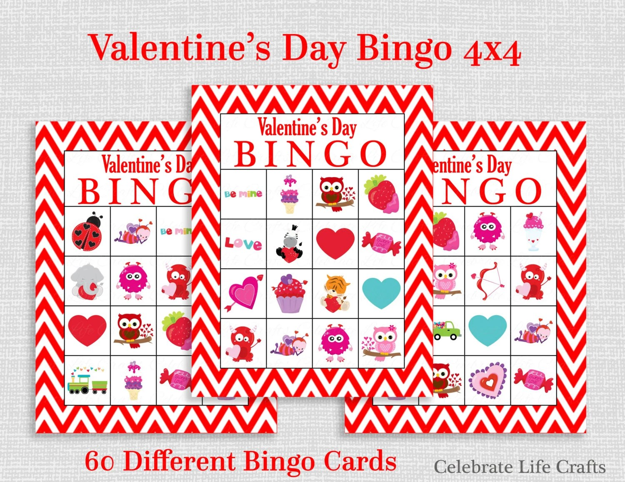 Valentine Bingo Game 60 Printable Valentines Bingo