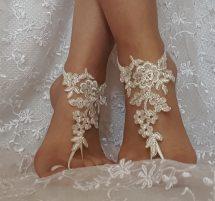 Ivory Lace Silver Frame Barefoot Sandal Beach Wedding
