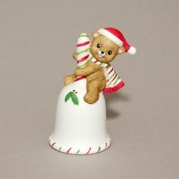 Porcelain Christmas Bell Lefton China 1983 Handpainted Bear