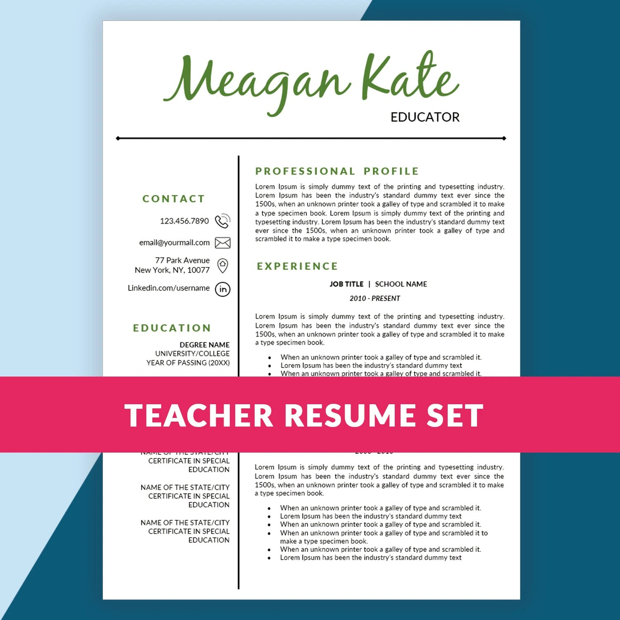 Teacher Resume Template Teaching Resume  Cover by ResumeSouk