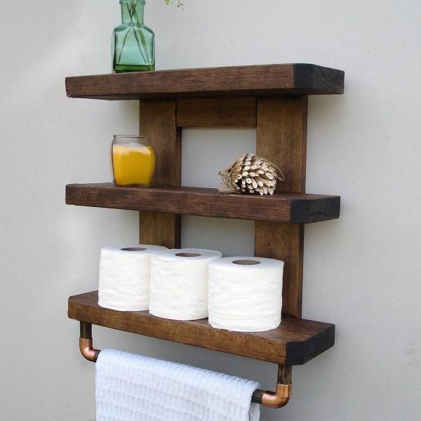 Rustic Bathroom Wall Shelves