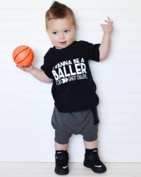 Trendy boy clothes hipster baby clothes wanna be a baller