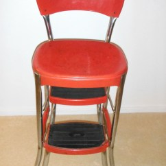 Vintage Cosco Step Stool Chair Wheelchair Van Ramp Red Stylaire Retro