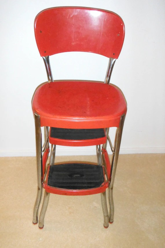 how to fold up a cosco high chair french country dining chairs nz red stylaire step stool vintage retro