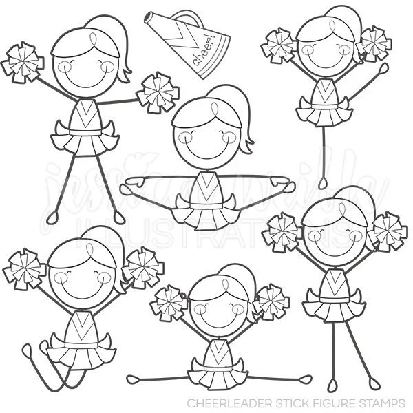 Cheerleader Stick Figures Digital Stamps Cheerleader Line