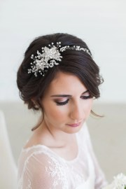 silver crystal bridal headpiece